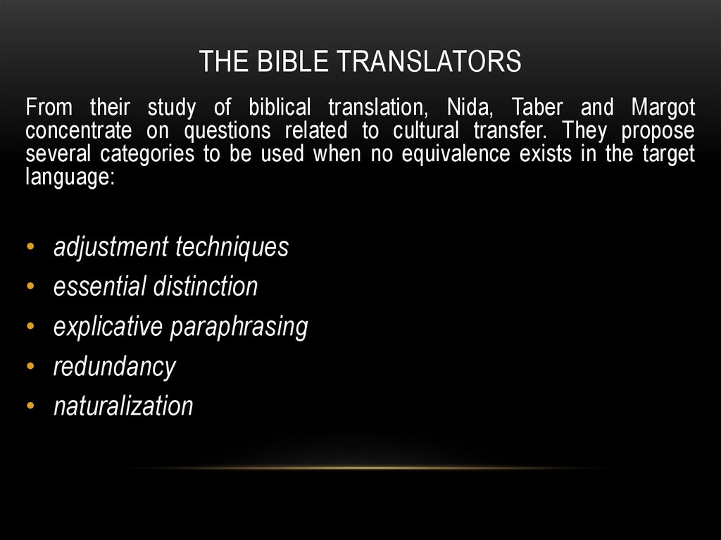 The bible translators