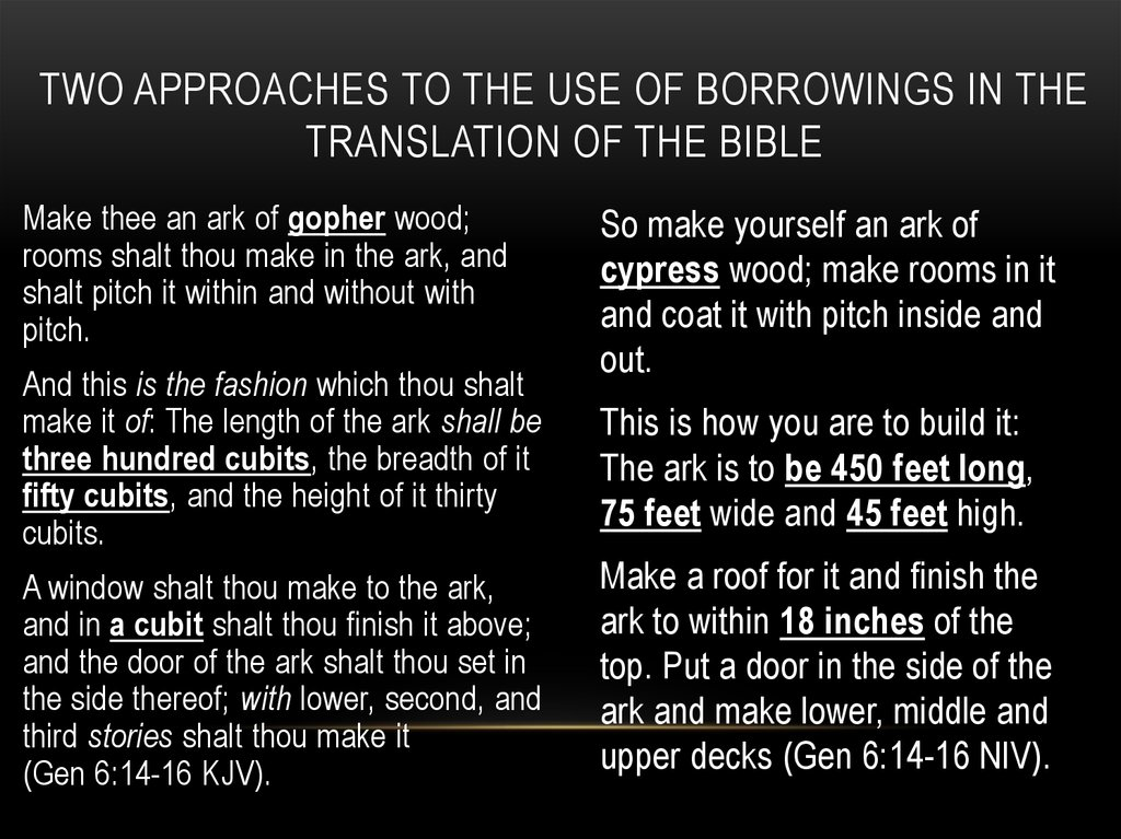 Two approaches to the use of borrowings in the translation of the bible