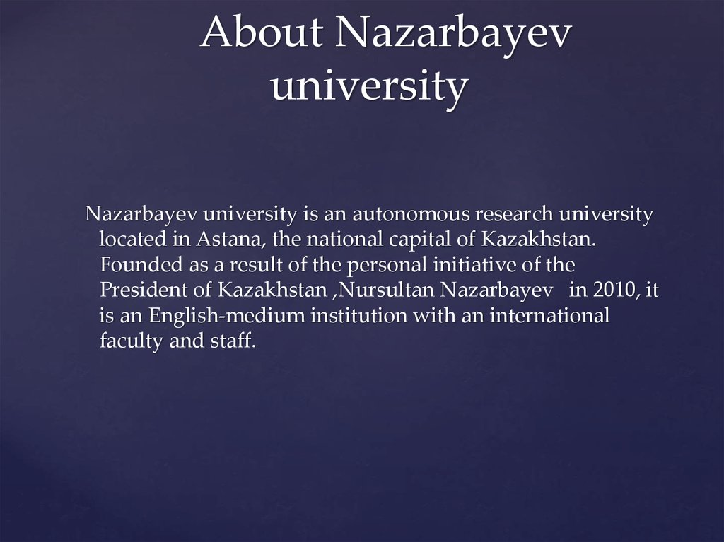 About Nazarbayev university