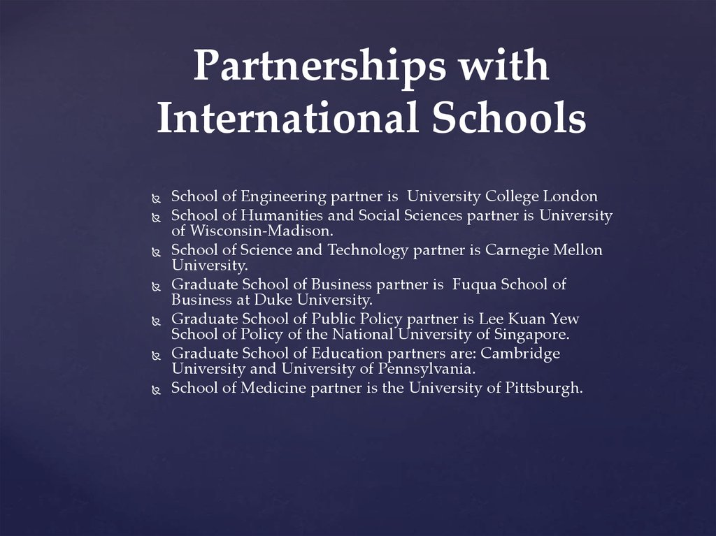 Partnerships with International Schools