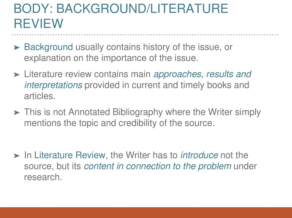 Body: Background/Literature review
