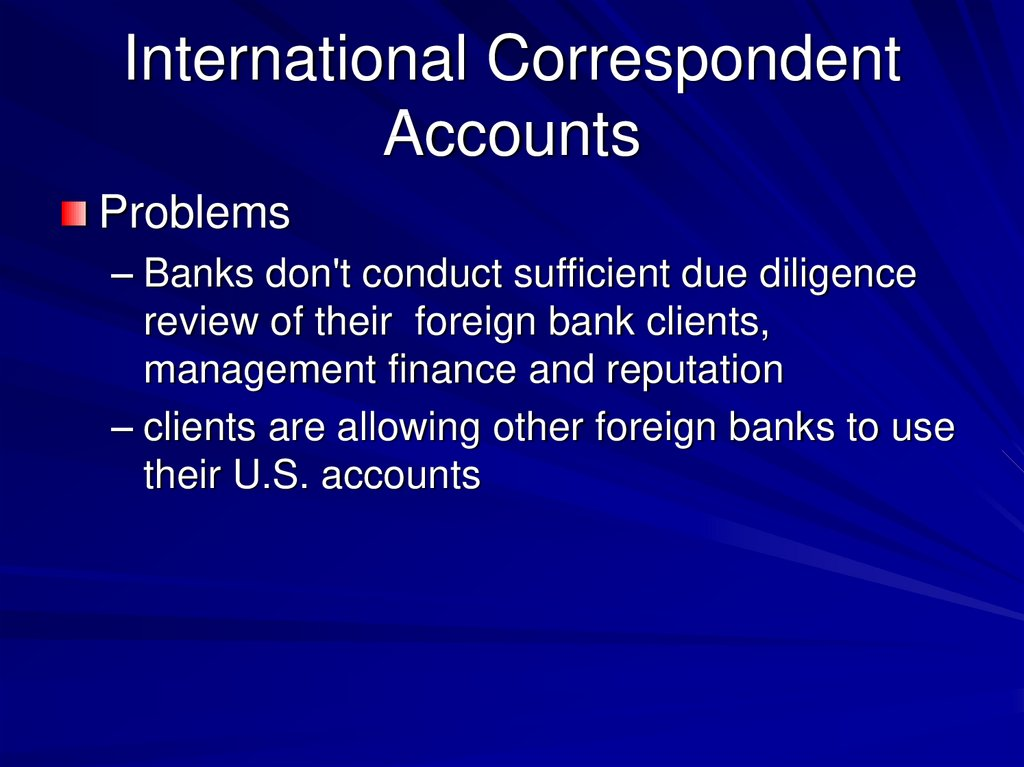 International Correspondent Accounts