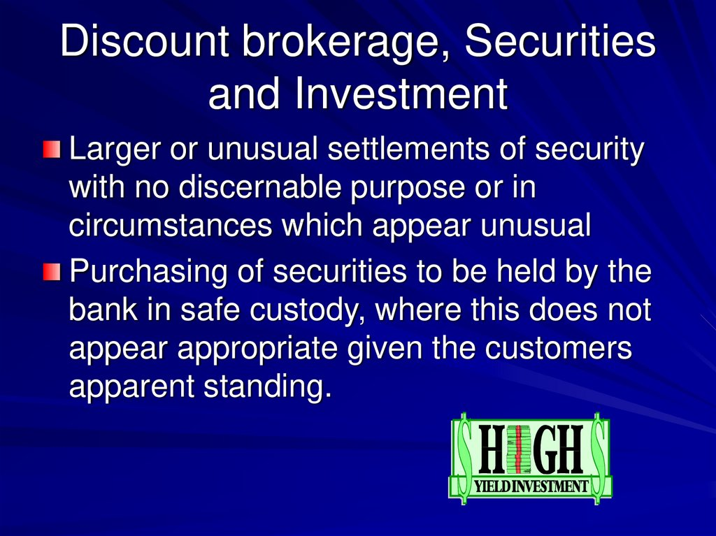 Discount brokerage, Securities and Investment