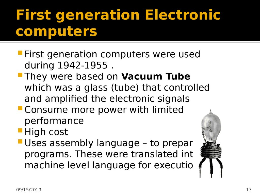 First generation Electronic computers