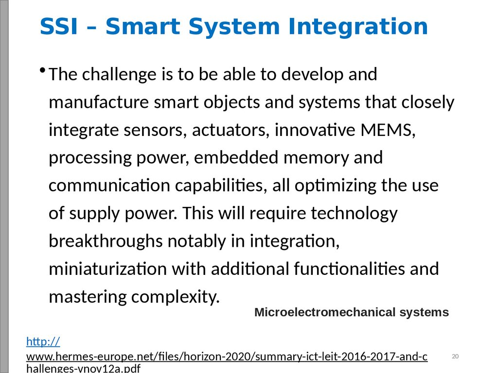 SSI – Smart System Integration