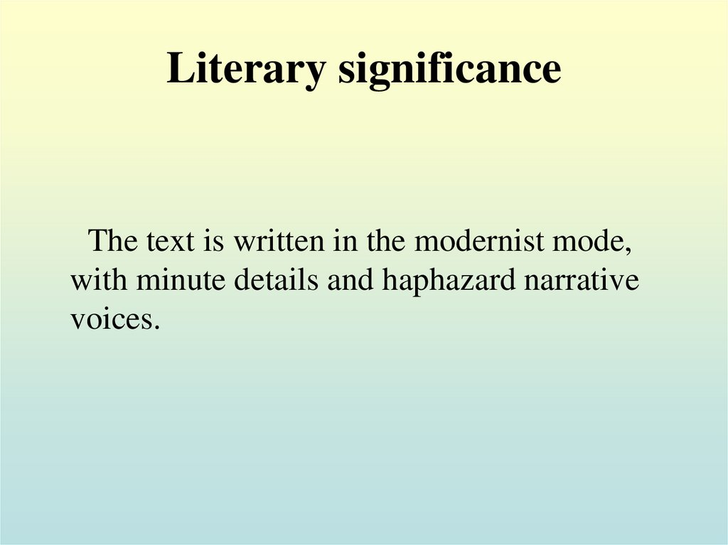 Literary significance
