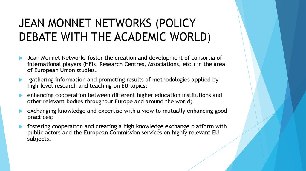 JEAN MONNET NETWORKS (POLICY DEBATE WITH THE ACADEMIC WORLD)