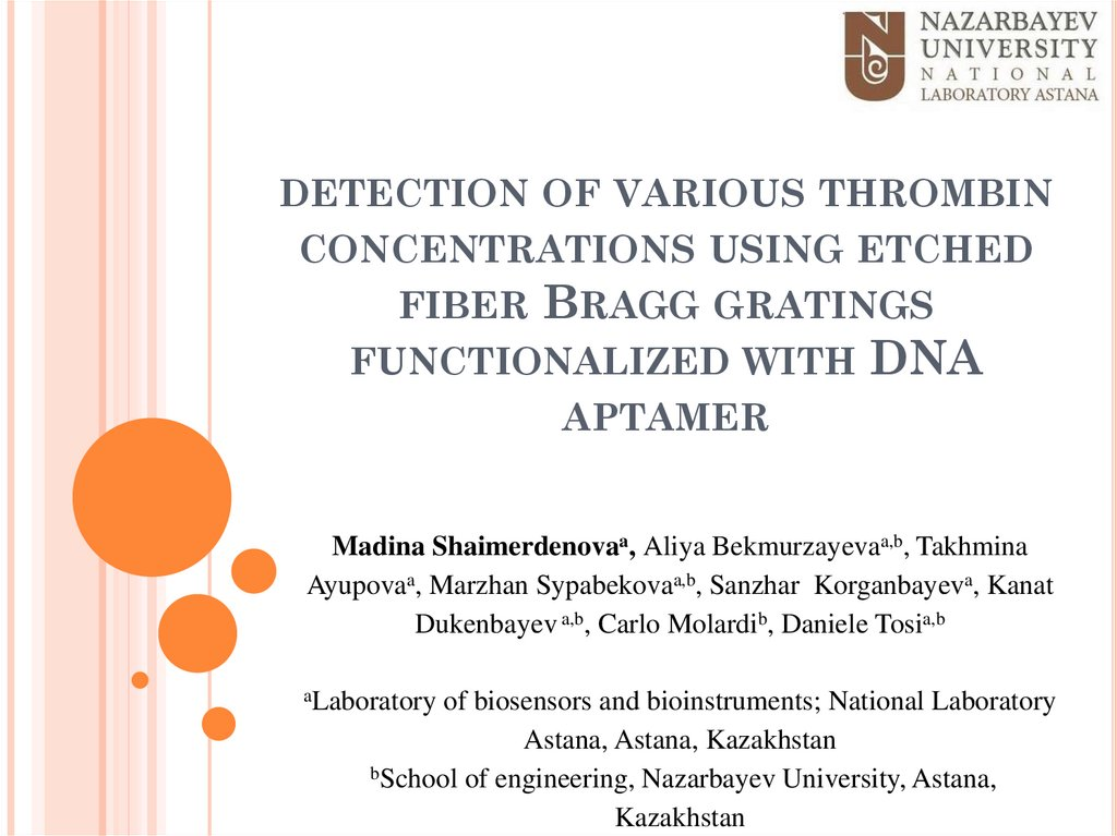 detection of various thrombin concentrations using etched fiber Bragg gratings functionalized with DNA aptamer