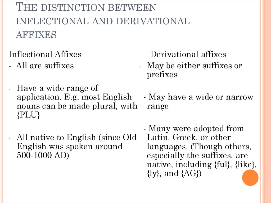 The distinction between inflectional and derivational affixes