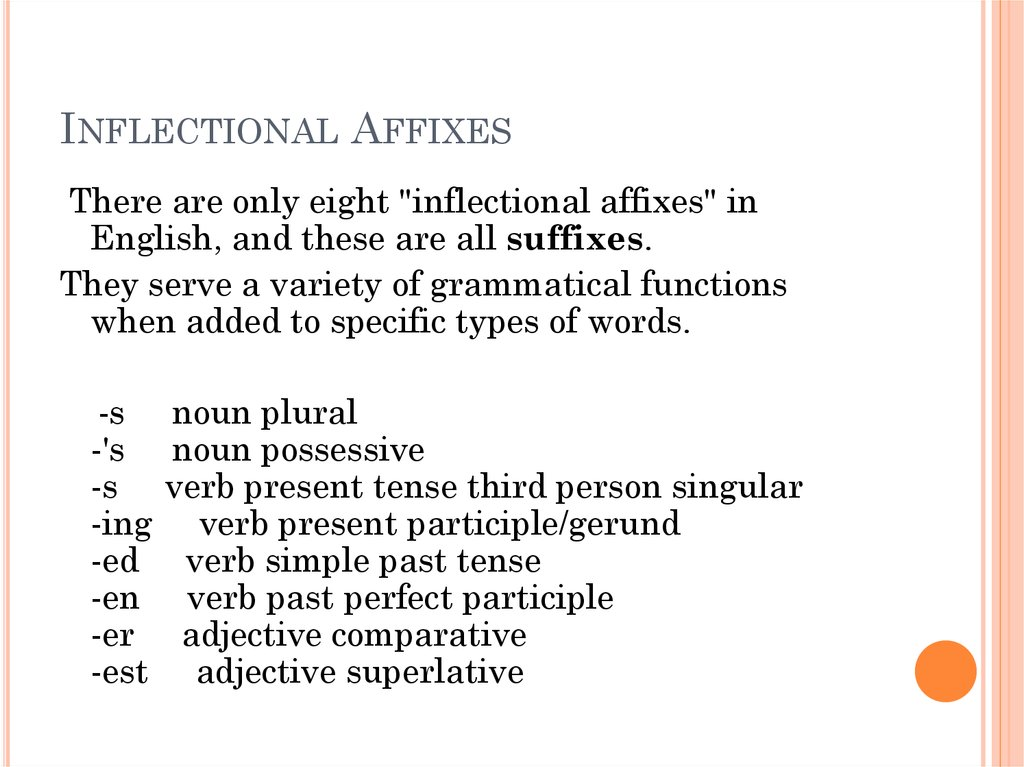 Inflectional Affixes