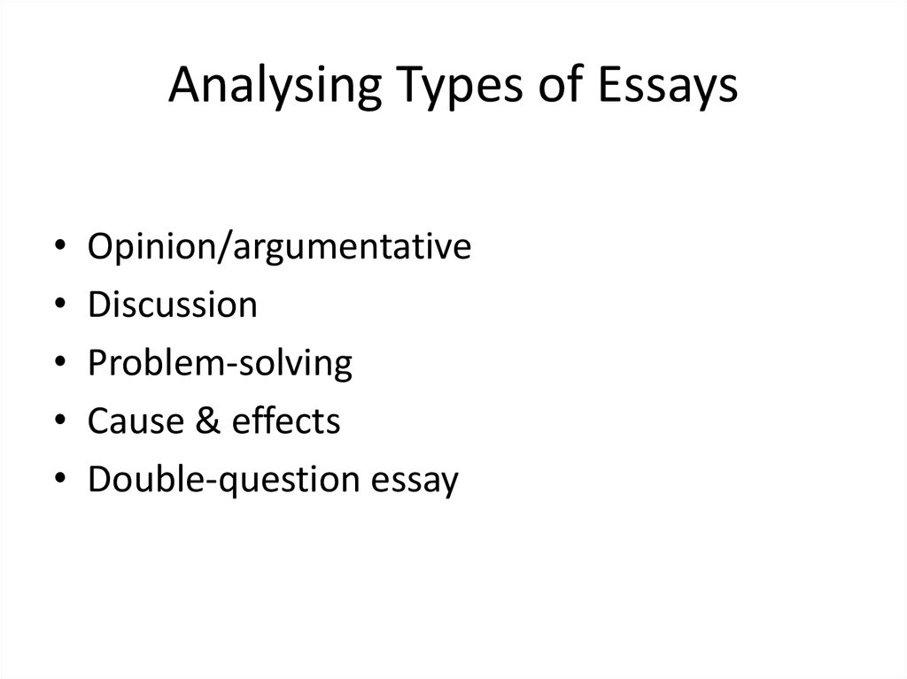 Analysing Types of Essays