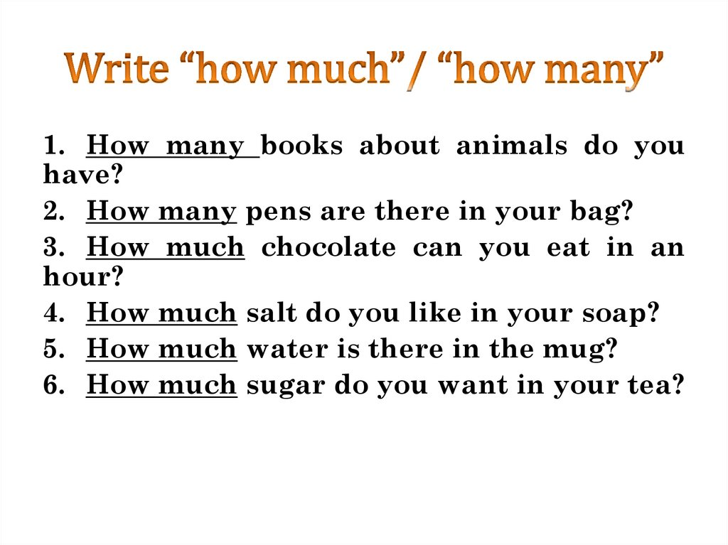 "Write ""how much""/ ""how many"""