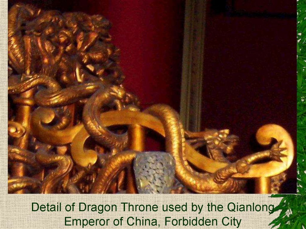 Detail of Dragon Throne used by the Qianlong Emperor of China, Forbidden City