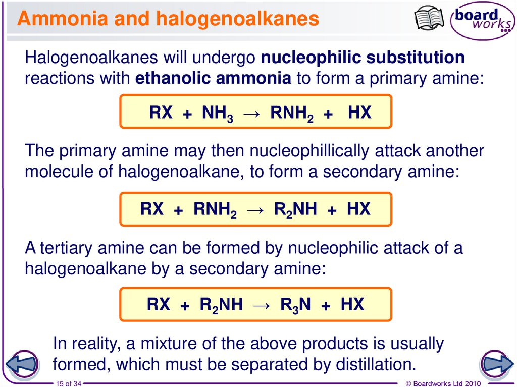 Ammonia and halogenoalkanes
