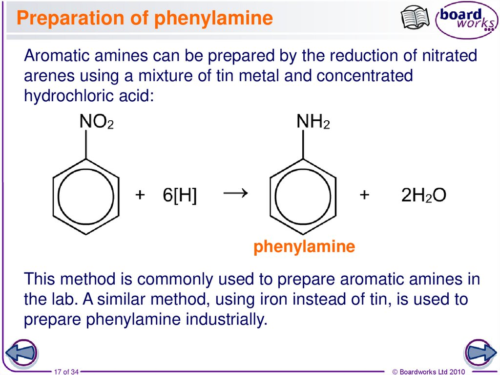Preparation of phenylamine