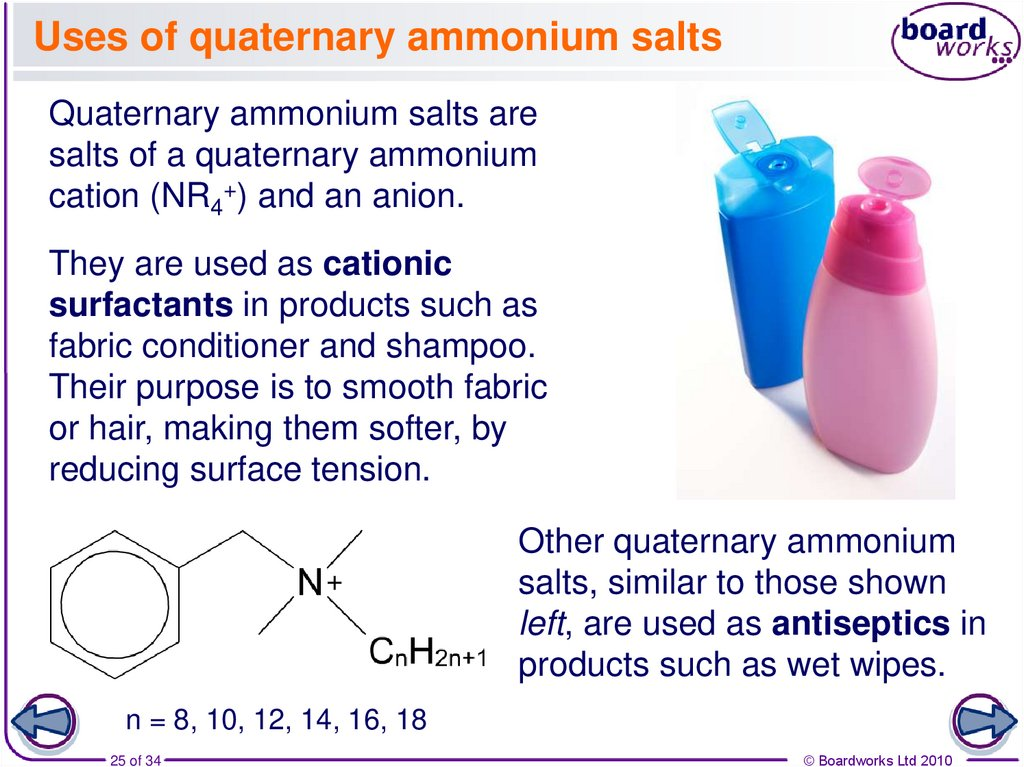 Uses of quaternary ammonium salts