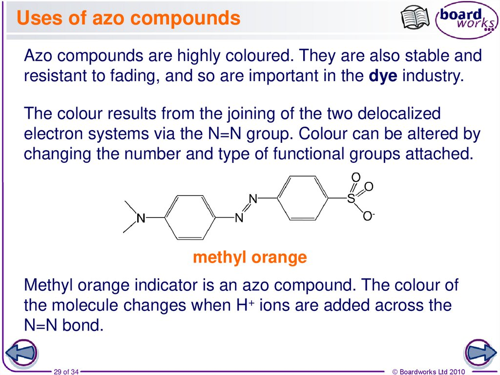 Uses of azo compounds