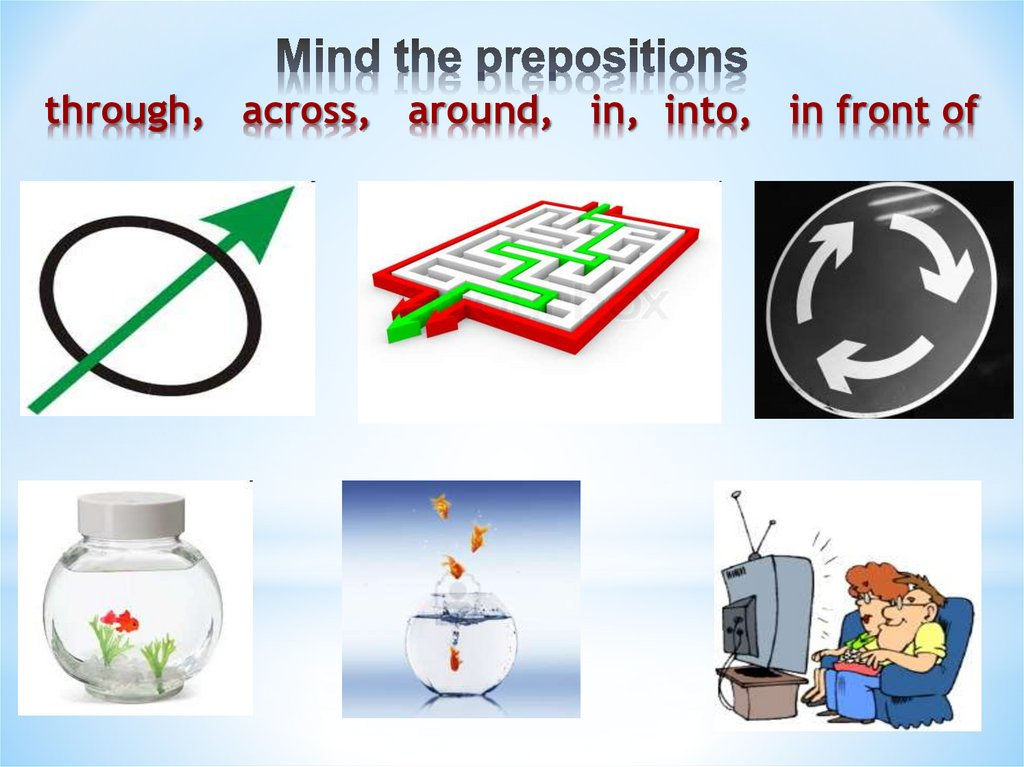 Mind the prepositions through, across, around, in, into, in front of