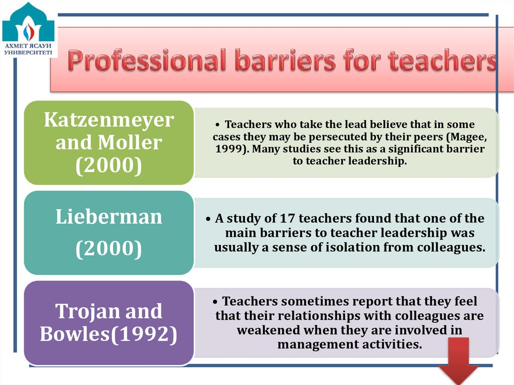 Professional barriers for teachers