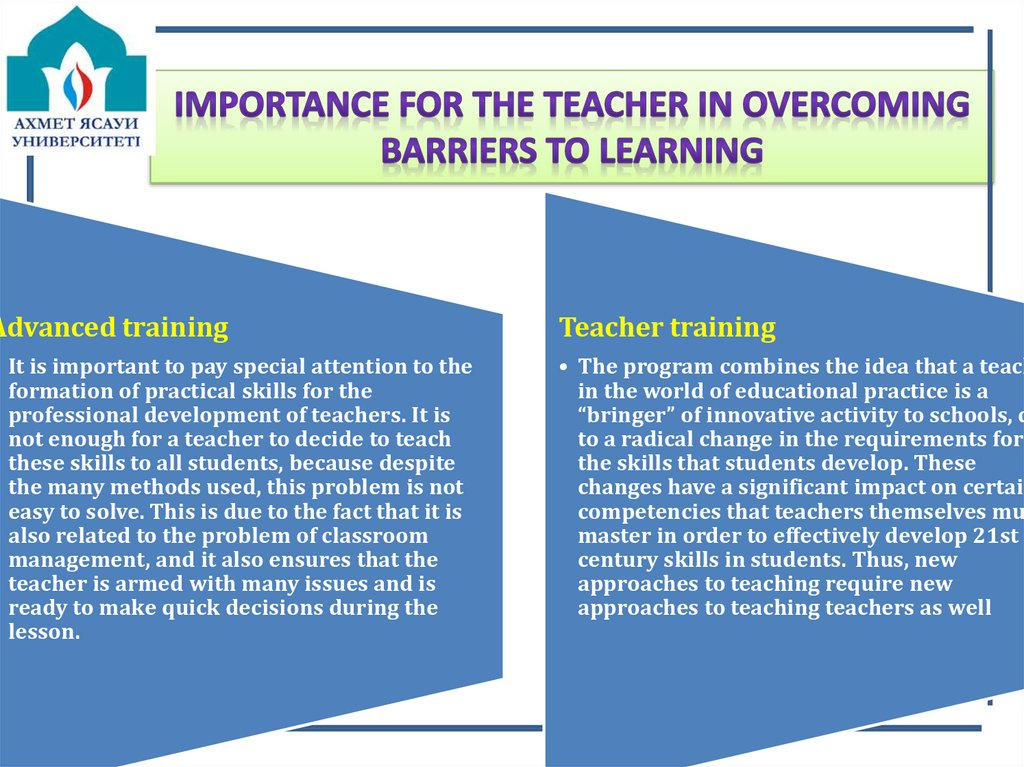 Importance for the teacher in overcoming barriers to learning