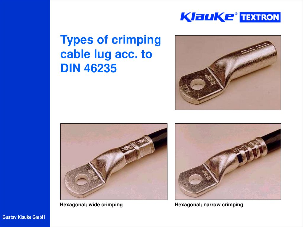 Types of crimping cable lug acc. to DIN 46235
