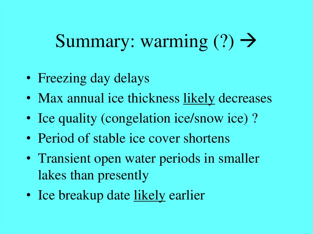 Summary: warming (?) 