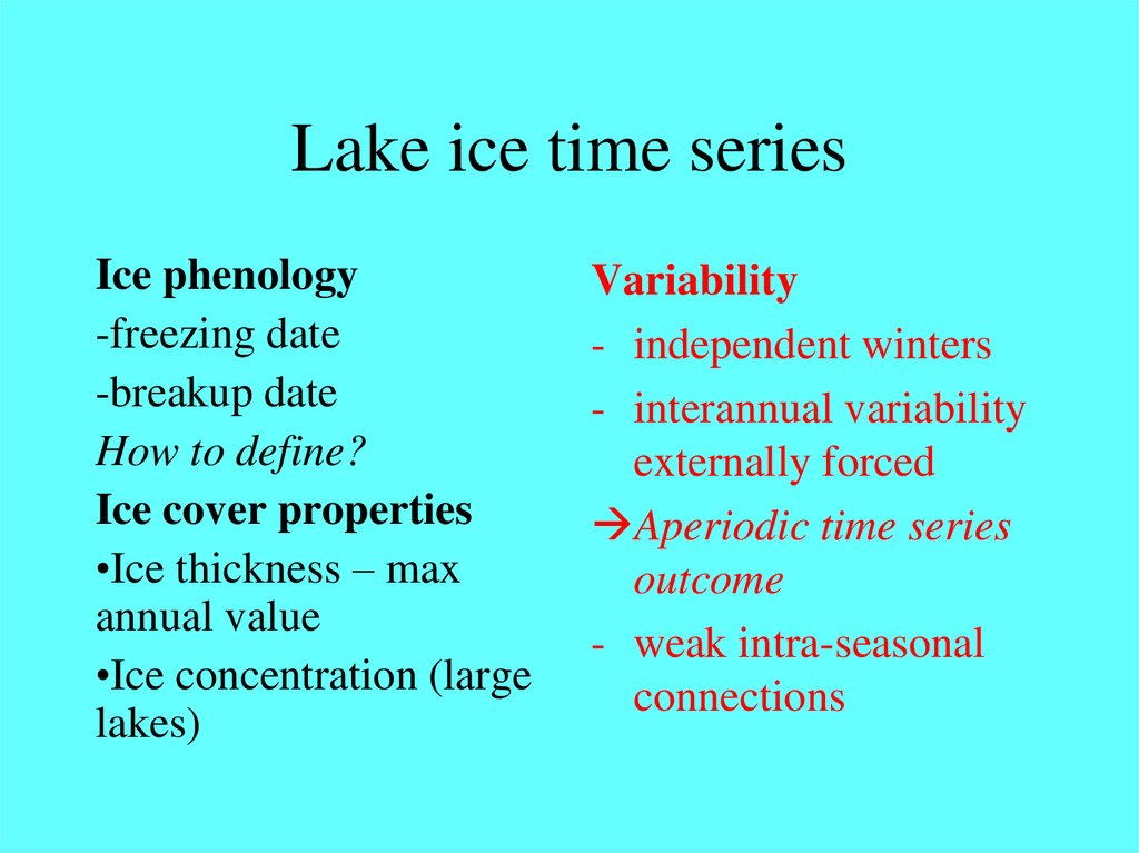 Lake ice time series