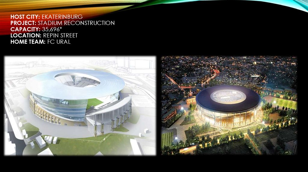 Host City: Ekaterinburg Project: Stadium Reconstruction Capacity: 35,696* Location: Repin Street Home Team: FC Ural