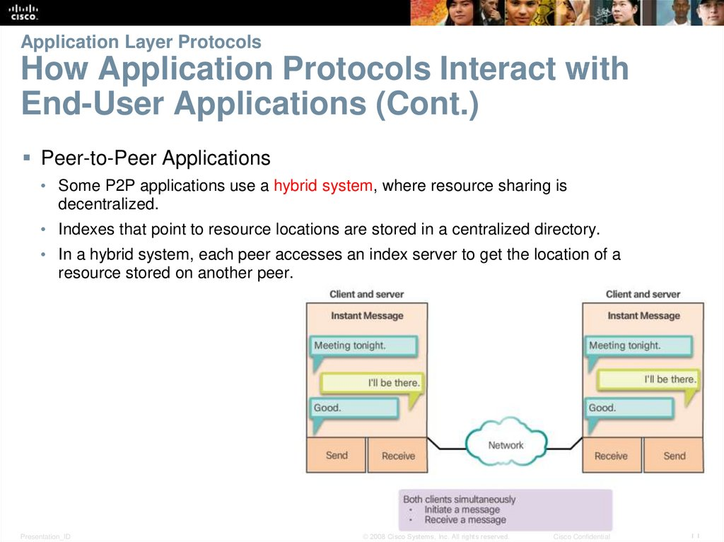 Application Layer Protocols How Application Protocols Interact with End-User Applications (Cont.)
