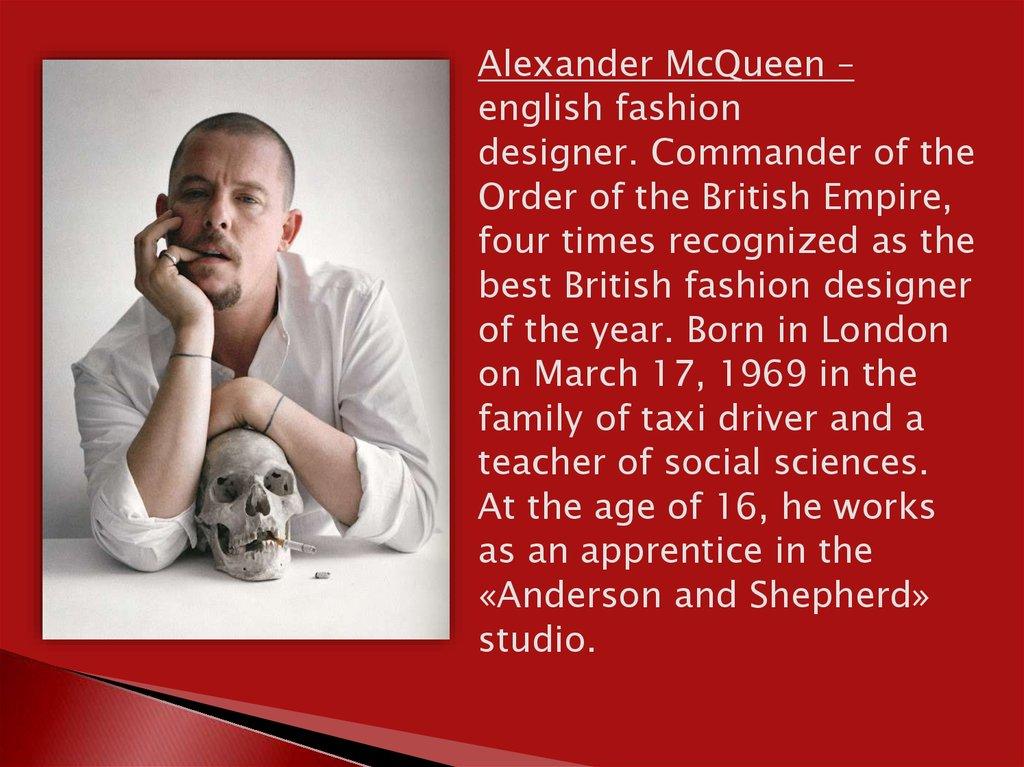 Alexander Mcqueen English Fashion Designer Online Presentation