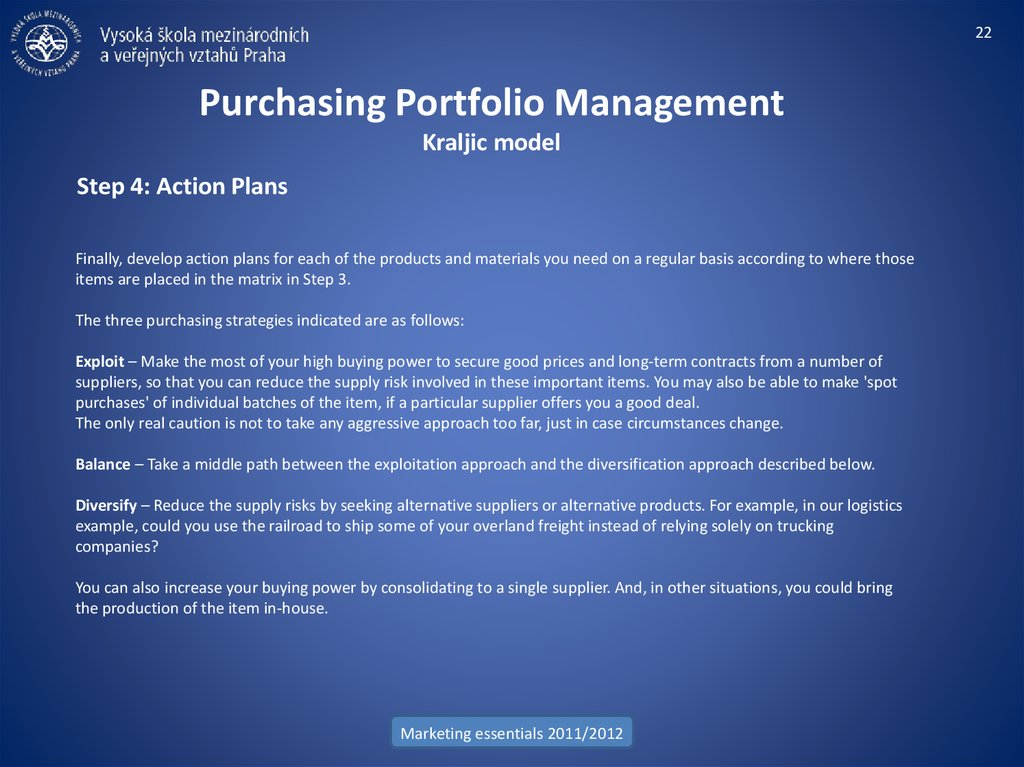 Purchasing Portfolio Management Kraljic model
