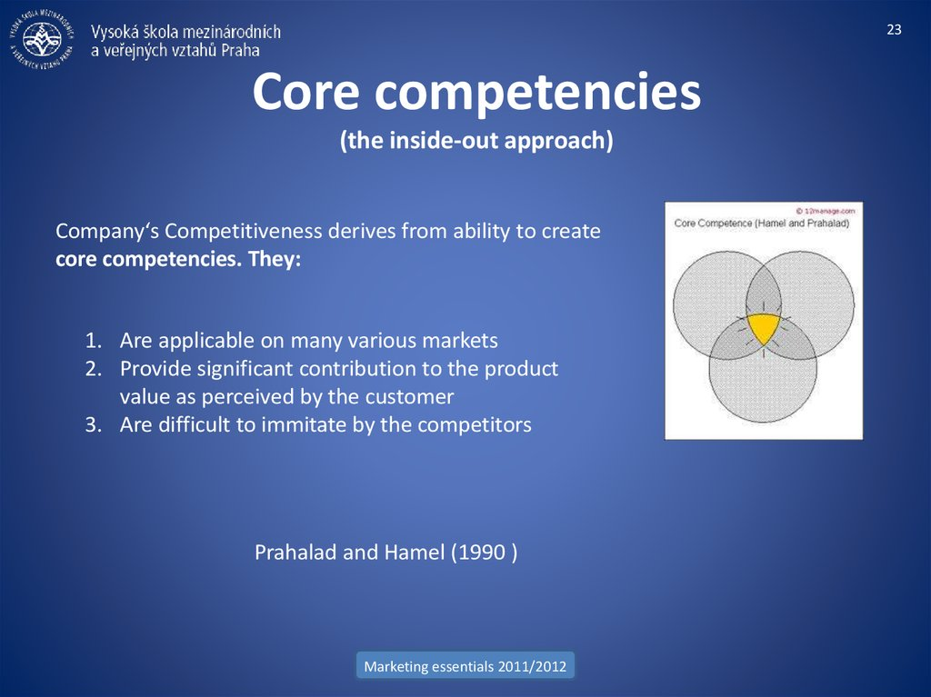 Core competencies (the inside-out approach)