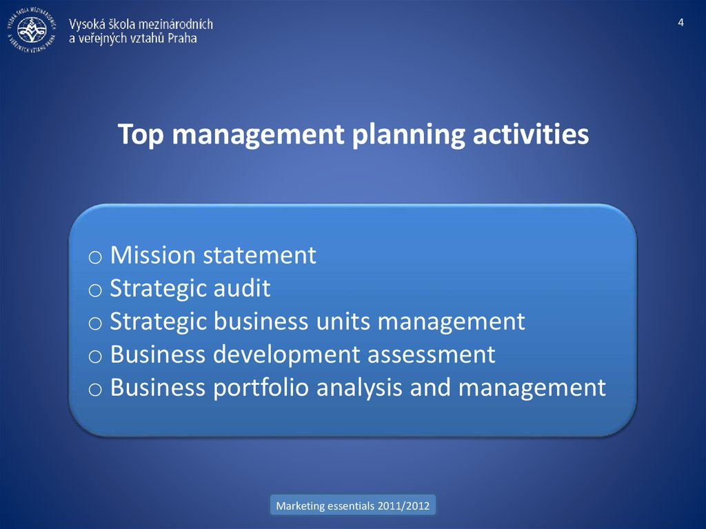 Top management planning activities