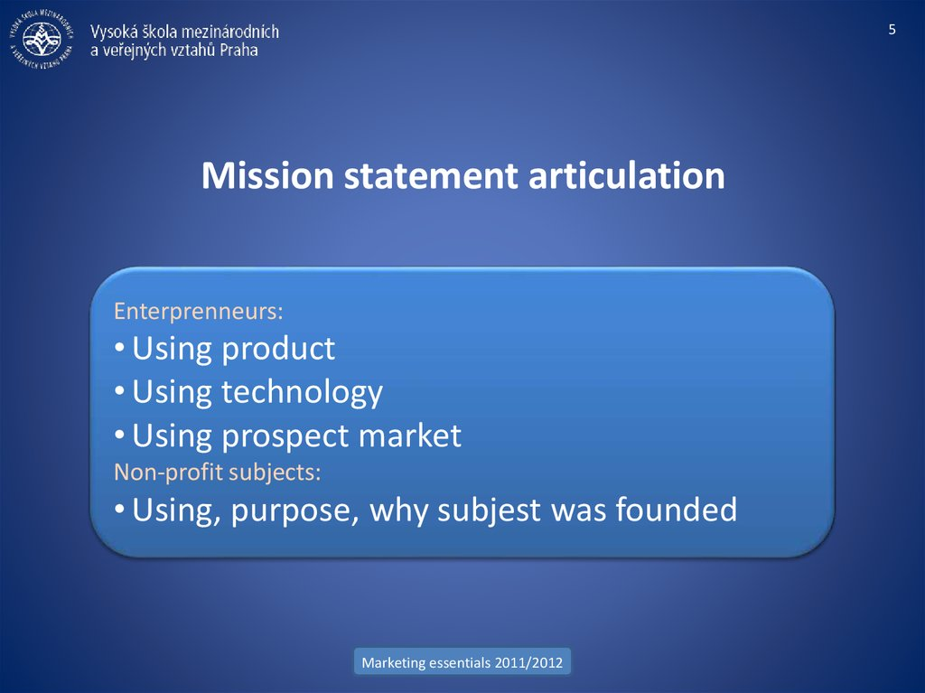 Mission statement articulation