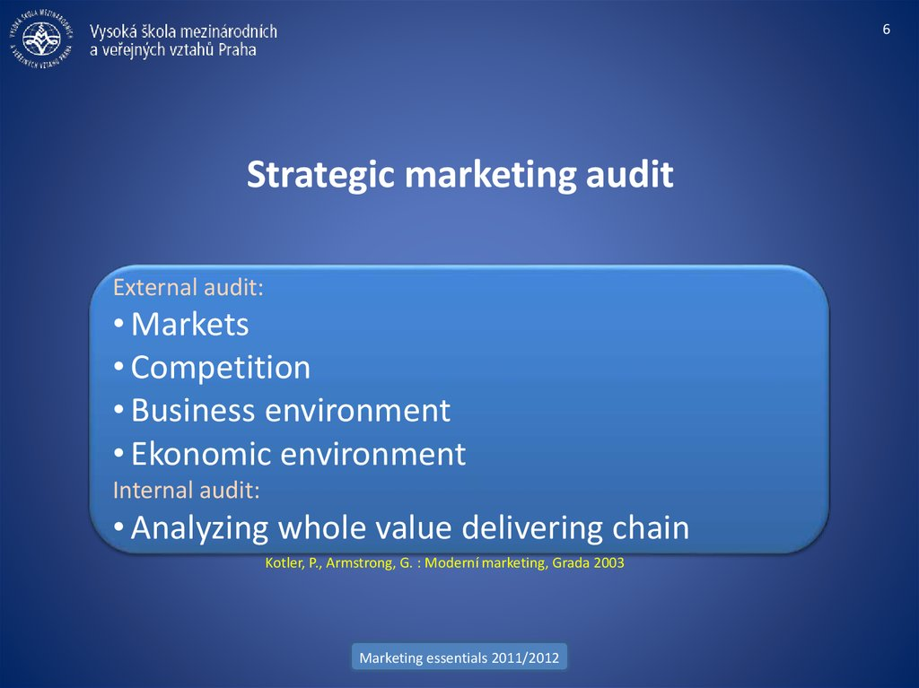 Strategic marketing audit