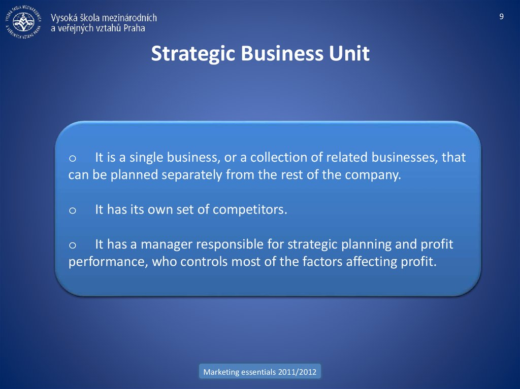 Strategic Business Unit