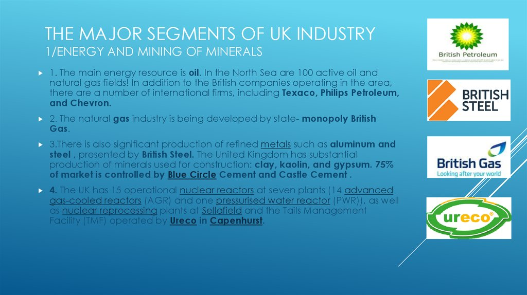 THE MAJOR SEGMENTS OF uk INDUSTRY 1/Energy and mining of minerals