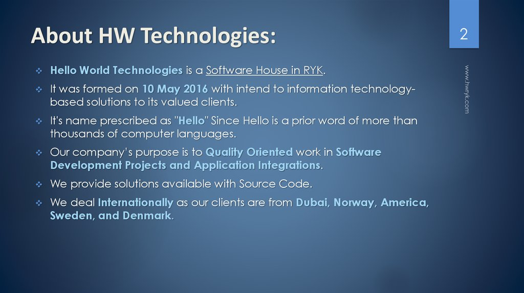 About HW Technologies: