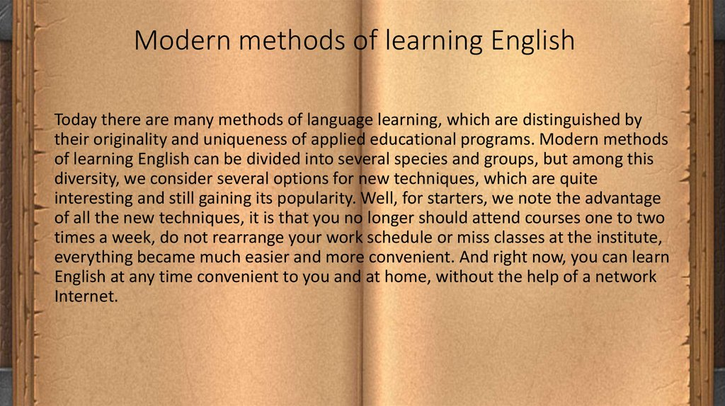 Modern methods of learning English