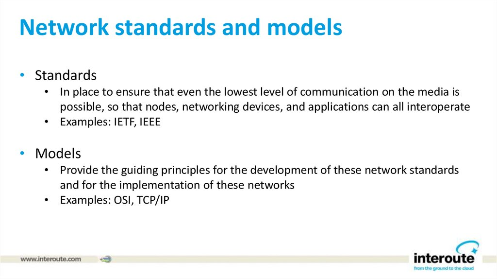 Network standards and models
