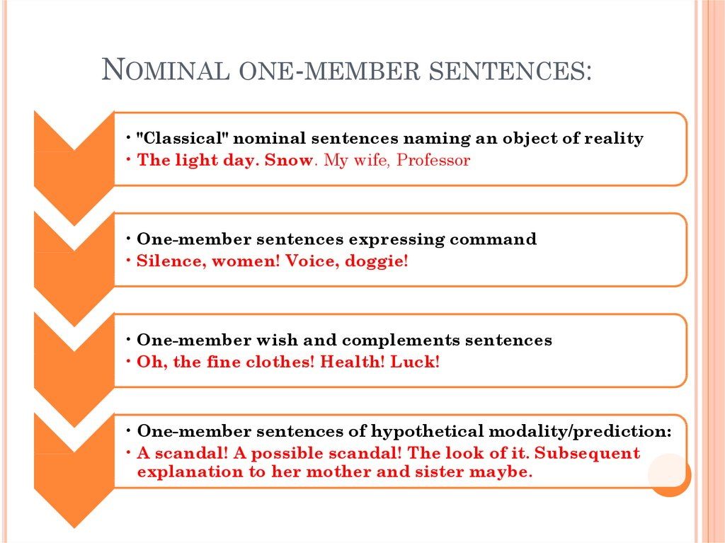 Nominal one-member sentences: