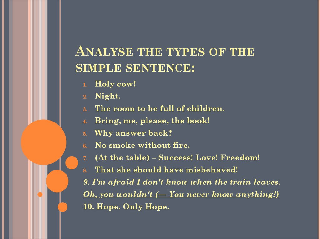 Analyse the types of the simple sentence: