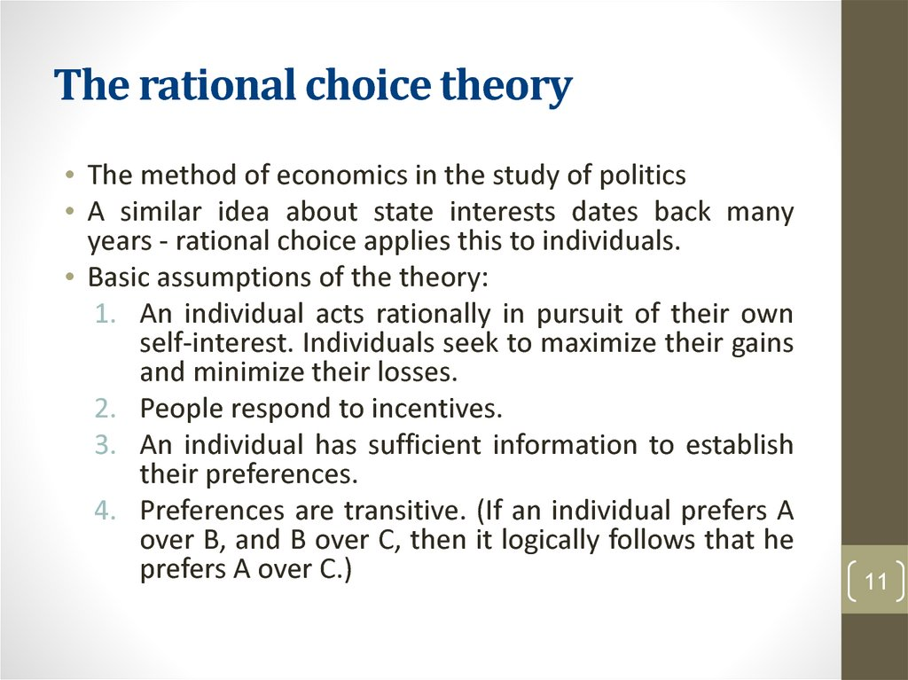 The rational choice theory