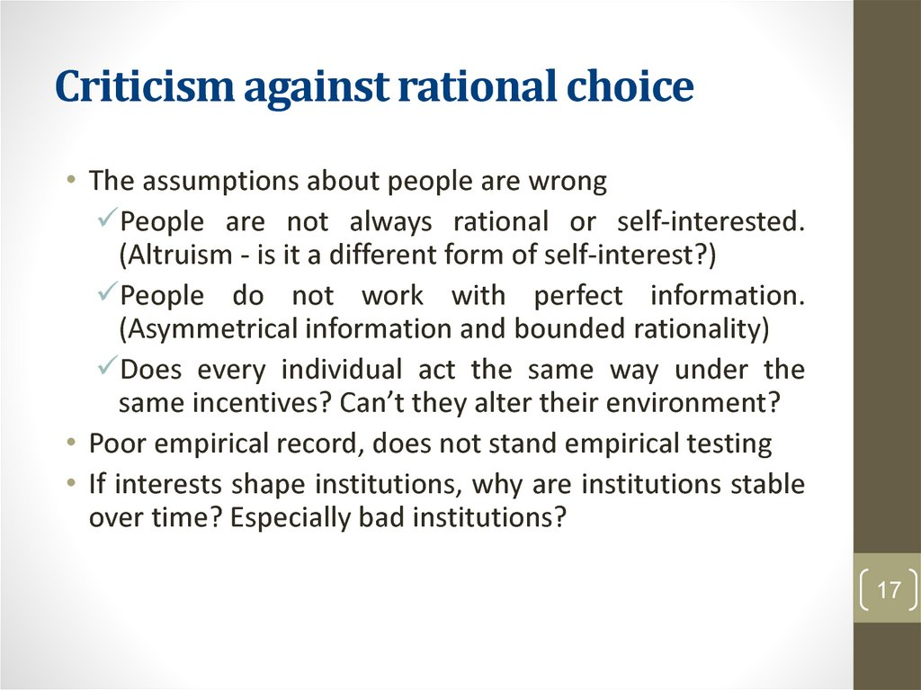 Criticism against rational choice