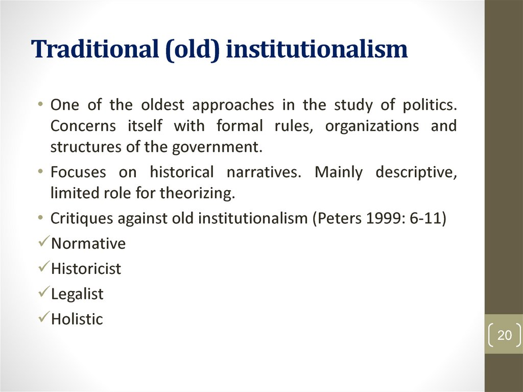 Traditional (old) institutionalism