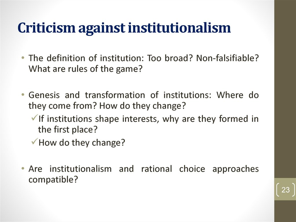 Criticism against institutionalism