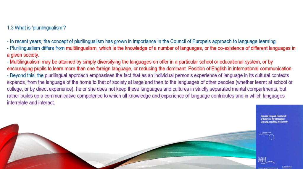 1.3 What is 'plurilingualism'? - In recent years, the concept of plurilingualism has grown in importance in the Council of