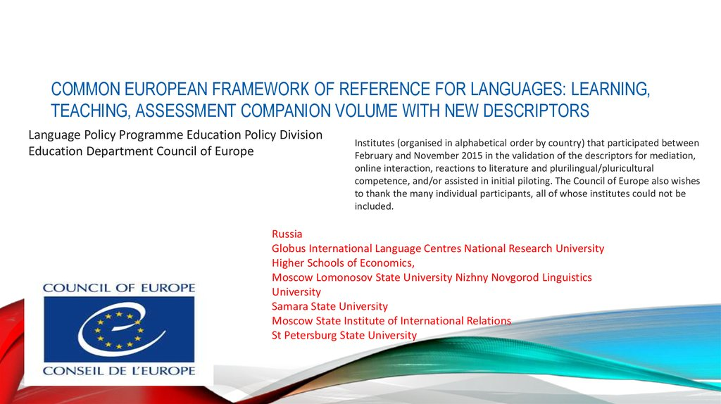 COMMON EUROPEAN FRAMEWORK OF REFERENCE FOR LANGUAGES: LEARNING, TEACHING, ASSESSMENT COMPANION VOLUME WITH NEW DESCRIPTORS