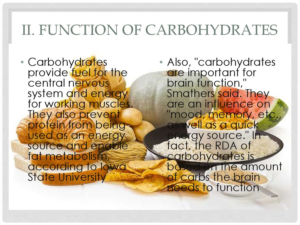 II. Function of carbohydrates