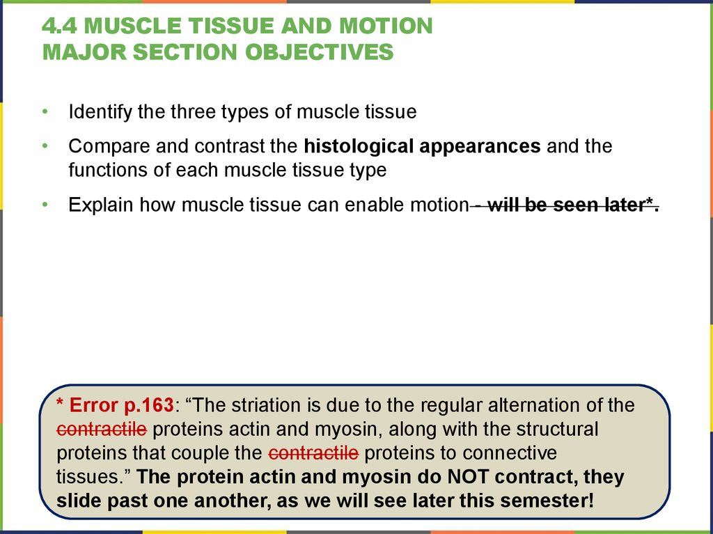 4.4 muscle tissue and motion Major section Objectives